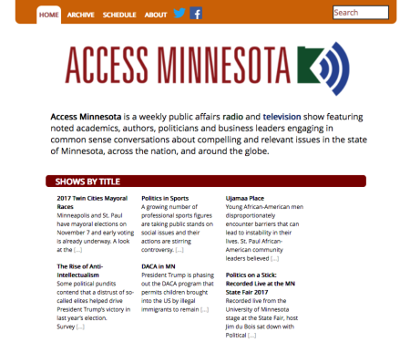 A screenshot of the new homepage for Access Minnesota Online